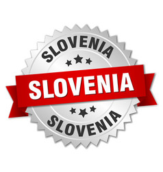 Slovenia round silver badge with red ribbon vector
