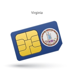 State of virginia phone sim card with flag vector
