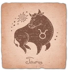Taurus zodiac sign horoscope vintage card vector