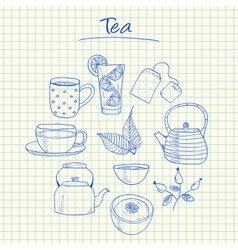 tea doodles squared paper vector image vector image