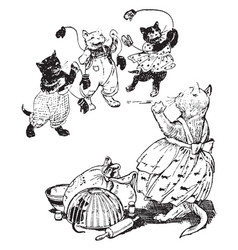 Three little kittens vintage vector