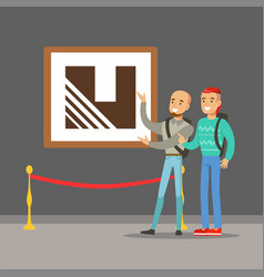 Two young men standing in modern art gallery vector