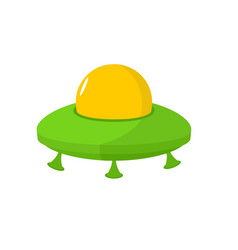 ufo isolated flying saucer on white background vector image vector image