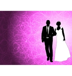 wedding couple on the abstract background vector image vector image