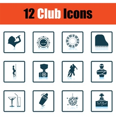 Set of twelve night club icons vector