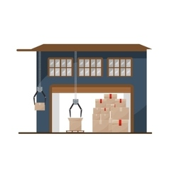 Storage cellar with packages and crane mechanics vector