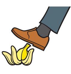 Man slipping on a banana peel vector