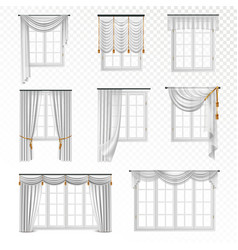 Realistic curtain windows set vector