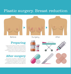 Plastic surgery breast reduction infographic vector