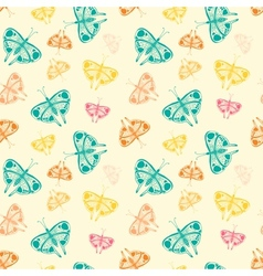 Pattern with butterflies of random size and color vector