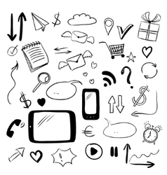 Set with web doodles vector image
