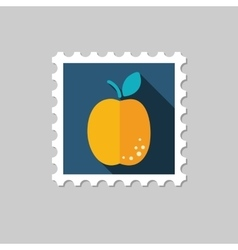 Apricot flat stamp with long shadow vector