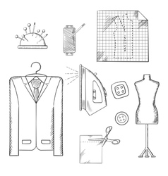 Tailor tools and accessories sketches set vector