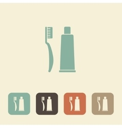 Toothbrush with toothpaste icon vector
