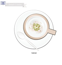 Sahlab or israeli hot milk with orchid root flour vector
