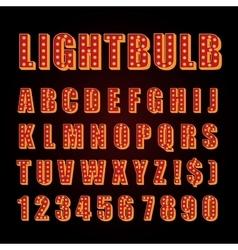 Orange neon lamp letters font show cinema vector