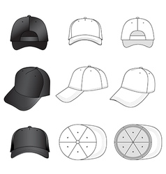 Baseball tennis cap set featured front back side vector image vector image