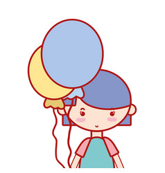 Beauty girl with balloons and hairstyle design vector