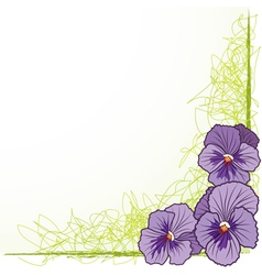 border with violet pansies vector image