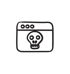 Browser window with skull sketch icon vector