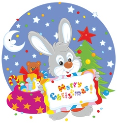 Bunny with christmas card vector