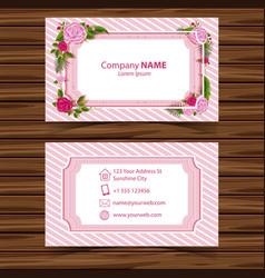 Businesscard template with roses border vector