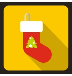 Christmas sock icon flat style vector image vector image