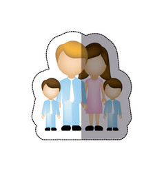 Color family their boys twins icon vector