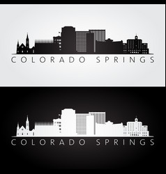 Colorado springs usa skyline and landmarks vector