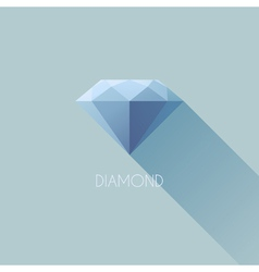 Diamond flat icon with long shadow vector image