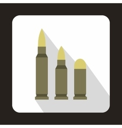 Different caliber bullets icon flat style vector image