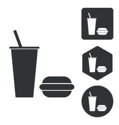 Fast food icon set monochrome vector image