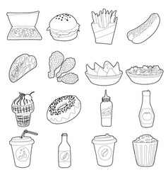 Fast food icons set outline style vector