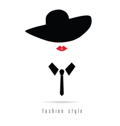girl fashion icon with hat vector image vector image