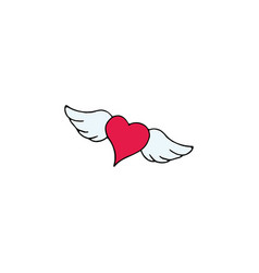 heart with wings cartoon hand drawn icon vector image vector image