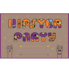 Hipster party funny invitation vector