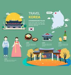 korean map and landmarks for traviling in korea vector image vector image