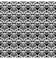 Lace white seamless mesh pattern on black vector image