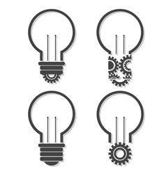 Light bulb with lightning in form of gear and idea vector image