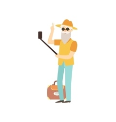 Old man doing selfie with a stick vector