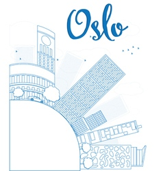 Outline oslo skyline with blue building vector