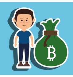 Person man bit coin web vector