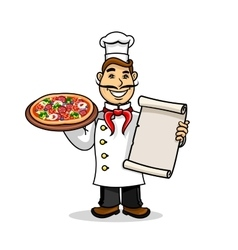 Pizzeria icon chef wih menu card and pizza vector