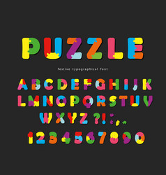 puzzle font abc colorful creative letters and vector image vector image