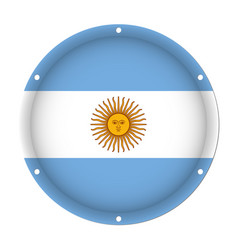 Round metallic flag of argentina with screw holes vector