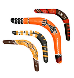 Set of painted traditional australian boomerang vector