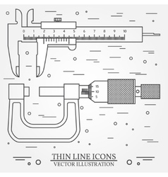 Set thin line icons caliper and micrometer vector