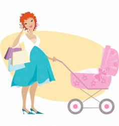 shopping mother and baby carriage vector image vector image