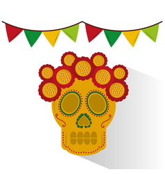 Skull mexican flower decoration garland colors vector