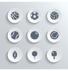 Sport balls icon set - white round buttons vector